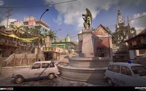 Картинка город, улица, здания, полиция, памятник, автомобили, Uncharted 4, Madagascar City MP
