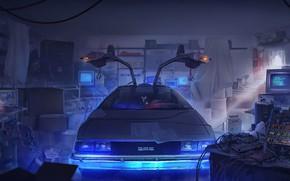 Картинка Авто, Рисунок, Машина, Гараж, DeLorean DMC-12, Фильм, DeLorean, DMC-12, Фантастика, DMC, Назад в Будущее