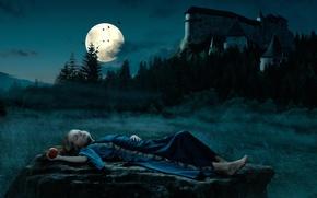 Картинка ночь, замок, луна, яблоко, девочка, белоснежка, Snow White, по мотивам сказки