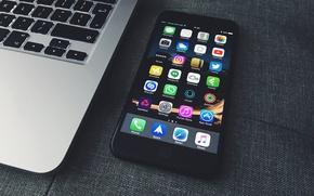 Обои черный, телефон, iphone, экран, айфон, iPhone 7 Plus