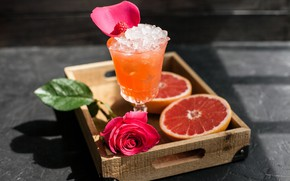 Картинка бокал, роза, лёд, сок, цитрус, напиток, грейпфрут