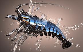 Картинка вода, капли, металл, блеск, Омар, 3Ds