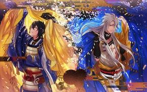 Картинка узор, доспехи, покрывало, пояс, art, самураи, Tayuya, Touken Ranbu, Mikazuki Munechika, Kogitsunemaru, длинные белые волосы, …