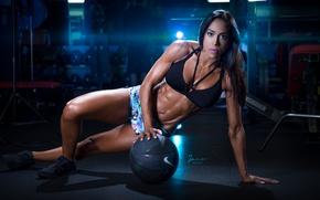 Картинка brunette, pose, workout, fitness, bodybuilder