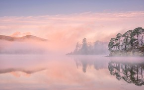 Картинка деревья, горы, туман, озеро, Англия, Камбрия