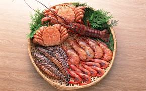 Картинка суши, крабы, креветки, морепродукты, Омар