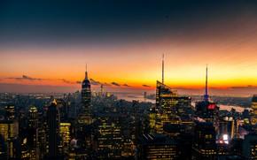 Картинка город, огни, вечер, панорама