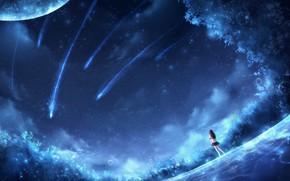 Картинка девушка, космос, фантастика, CZY, падающие зведы