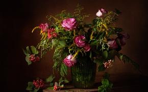 Картинка ягоды, розы, букет, натюрморт, калина