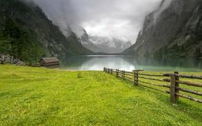 Обои озеро, Germany, горы, Obersee, Германия, облака