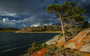 Обои небо, озеро, камни, дерево, Казахстан, сосна, Озеро Торайгыр, Баянаульский национальный парк