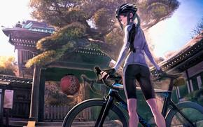 Картинка девушка, аниме, велоcипед