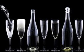 Картинка праздник, бутылка, шампанское, фужер