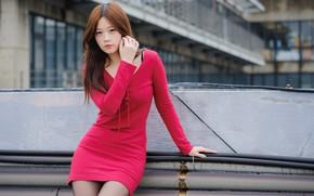 Картинка красное, фигура, платье, азиатка