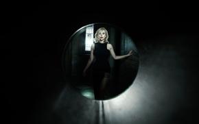 Картинка макияж, фигура, платье, прическа, блондинка, красотка, в черном, Elizabeth Olsen, Элизабет Олсен