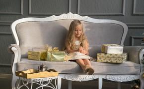 Картинка праздник, игрушки, новый год, девочка, подарки