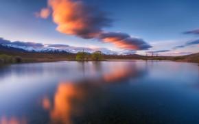 Картинка вода, облака, деревья, горы, природа, озеро, гладь, дерево, Новая Зеландия