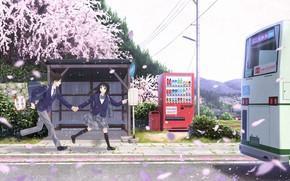Картинка аниме, арт, двое, школьники, taka (tsmix)