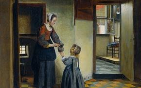 Картинка интерьер, картина, жанровая, Питер де Хох, Женщина с Ребенком в Подвале