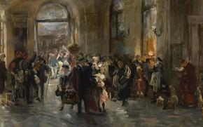 Обои На Станции, картина, интерьер, Ferdinand Brutt, Фердинанд Брютт