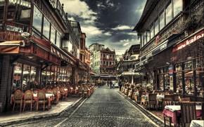Картинка HDR, Кафе, Улица, Стамбул, Турция, Street, Istanbul, Turkey, Kafe