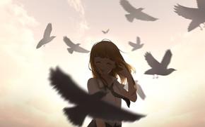 Картинка небо, девушка, облака, закат, птицы, улыбка, аниме, арт, форма, школьница, ying yue