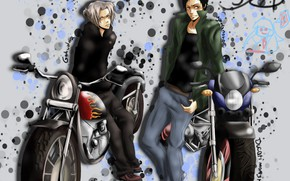 Картинка мотоциклы, аниме, парни, Katekyo Hitman REBORN!, Gokudera Hayato, Yamamoto Takeshi