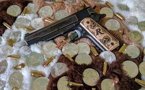 Картинка пистолет, оружие, доллар, gun, патроны, weapon, M1911, 1911, dollar, М1911, ammo, Remington