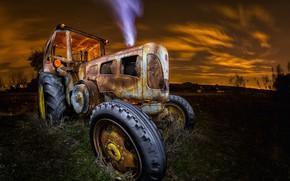 Обои машина, ночь, трактор