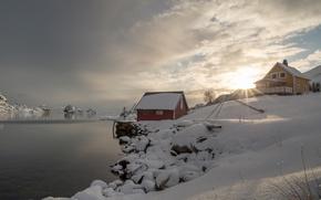 Картинка зима, снег, деревня, Норвегия, Norway, фьорд, Лофотенские острова, Lofoten Islands, Holand, Nordland