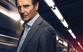 Обои The Commuter, Пассажир, детектив, поезд, Лиам Нисон, триллер, Liam Neeson, огни, станция, криминал, постер