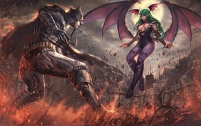 Картинка battlefield, girl, game, Morrigan, Batman, man, cartoon, fight, bat, Capcom, hero, film, animated film, DC …
