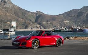 Картинка горы, тень, корабли, 911, Porsche, причал, red, кабриолет, автомобиль, mountains, GTS, Targa 4, Worldwide