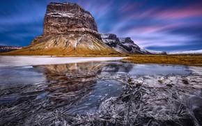 Обои природа, зима, лед, горы, гороа, скала