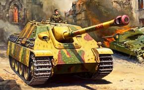 Обои САУ, класса истребителей танков, Вторая Мировая война, Живопись, WW2, Германия, Jagdpanther