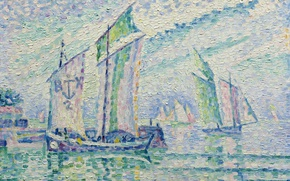 Обои парус, морской пейзаж, пуантилизм, Поль Синьяк, Канал Ла-Рошель, лодка, картина