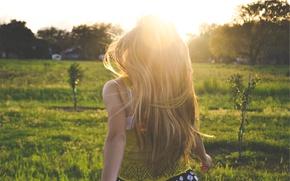 Картинка лето, девушка, солнце, длинные волосы