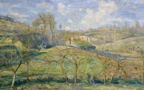 Картинка пейзаж, природа, картина, весна, Камиль Писсарро, Мартовское Cолнце. Понтуаз.