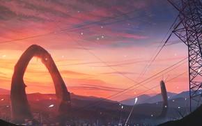 Картинка небо, закат, город, лэп