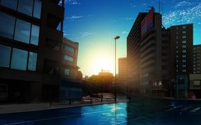 Картинка дорога, небо, отражение, улица, окна, дома, утро, переход, мокрый асфальт, art, безлюдный город, Sahara386