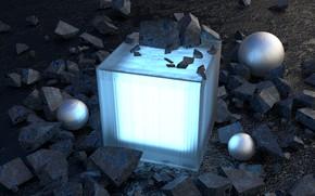 Картинка стекло, отражение, камни, сцена, шар, light, glass, куб, rock, art, render, рендер, material, cube, digital …