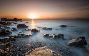 Картинка море, камни, рассвет, побережье, утро, Шотландия