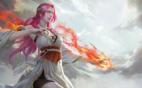 Картинка девушка, магия, фэнтези, арт, flame, 弘毅 李
