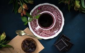 Картинка цветы, кофе, шоколад, завтрак, булочка