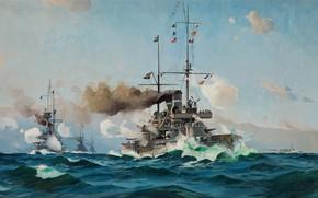 Обои battleship, океан, акварель, гуашь, картина painting, волны всплески, живопись, художник, Herman Gustav Sillen., шведский броненосец ...
