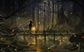 Картинка осень, лес, ночь, светлячки, человек, фонарь