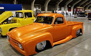 Картинка 1953, yellow, custom, orange, pickup, old car, Ford F-100