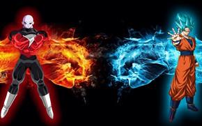Картинка fire, red, flame, ice, game, alien, blue, anime, evil, hero, manga, Son Goku, Dragon Ball, …