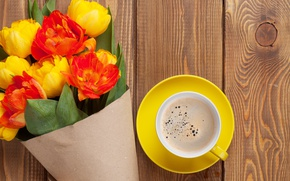 Картинка кофе, букет, colorful, тюльпаны, yellow, flowers, cup, tulips, coffee