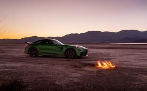 Картинка зеленый, стиль, пустыня, костёр, Mercedes GTR